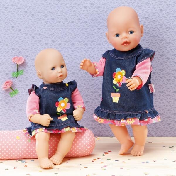 Zapf BABY born® Kleider Kollektion Dolly Moda Jeanskleid Größe 38-46cm ab 3