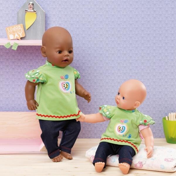 Babypuppen & Zubehör Zapf Creation 870112 Dolly Moda Shirt mit Leggings 30-36 cm Kleidung & Accessoires