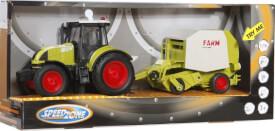 Speedzone Traktor mit Rundballenpresse, Licht & Sound, Friktion
