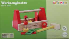SpielMaus Holz Werkzeugkasten, 10-teilig
