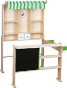 SpielMaus Holz Kaufladen hellgrün/weiß, Kaufläden & Zubehör, ca. 74x68x97 cm, ab 3 Jahren