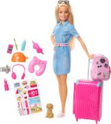 Mattel FWV25 Barbie® Reise Puppe (blond) und Zubehör