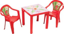 Kinderstuhl rot mit Aufdruck